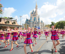 Dancers Performing Down Main Street, U.S.A. at Disney World