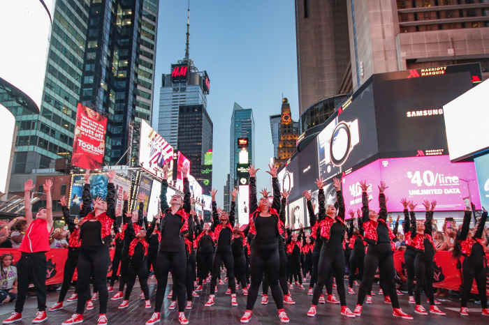 Dancers Performing in Times Square